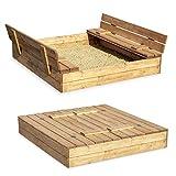 Sandkasten Sandbox Sandkiste mit Klappdeckel Sitzbänken 120x120x20 Kiefernholz mit Anti-Unkraut...