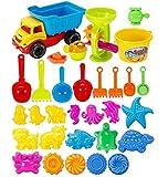 NIWWIN 31 stück Strand Sand Spielzeug Set Kinder Spielzeug gehören LKW, sandkasten Eimer Tier...